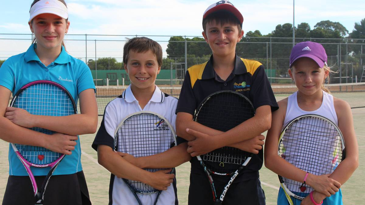 Elise Townsend (11), Ben Mahlknecht (11), Brady Clifford (11) and Airlee Savage (10) will represent the Riverina Public Schools Sports Association team at the state tennis carnival in May. Absent: Natalie Gibbs (11)